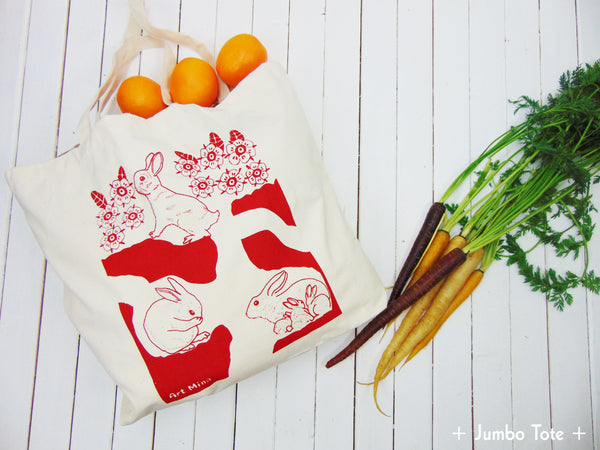 """Hole Rabbit"" Jumbo Natural Cotton Canvas Tote Bag"