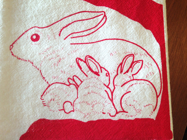 "Flour Sack Kitchen Tea Towel ""Hole Rabbit"""