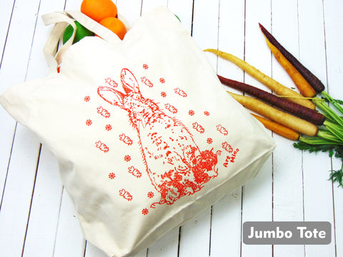 """Carrot Bunny "" Natural Cotton Canvas Tote Bag"