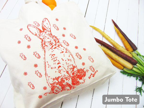 Large Canvas Bunny Tote Bag