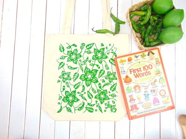 """ Aunty's Shishito Pepper Garden with Lucky Gecko"" Cotton Canvas 15"" x 15"" Book Tote Bag"