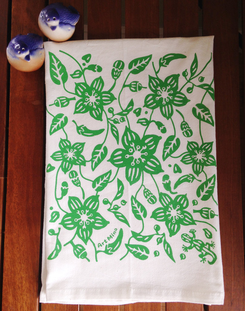 flour sack towel green