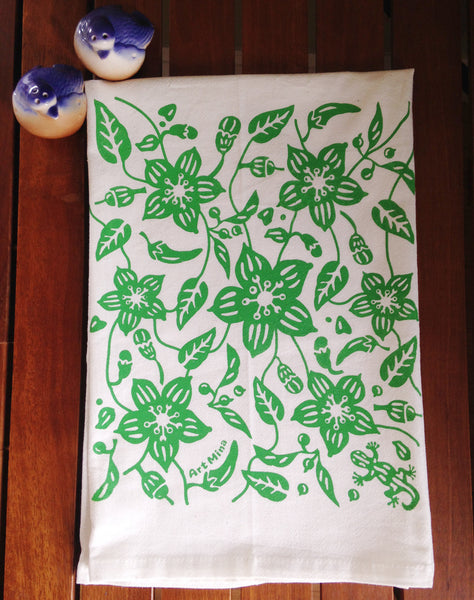 """Aunty's Shsihito Garden"" Hand Screen Printed  Flour Sack Kitchen Tea Towel"