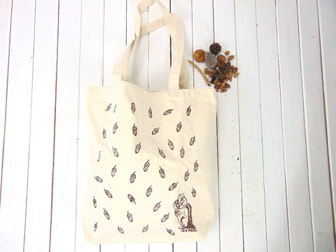 "Canvas Tote Bag ""Acorn and Chipmunk"""