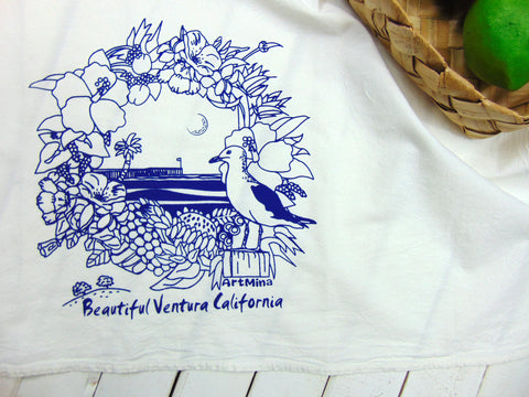 "Flour Sack Kitchen Tea Towel ""Beautiful Ventura California"""