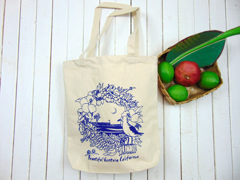 Art Mina California Pier Canvas Tote Bag