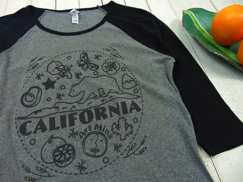 Picture of Art Mina California Bear Women's Slim Fit Baseball Tee