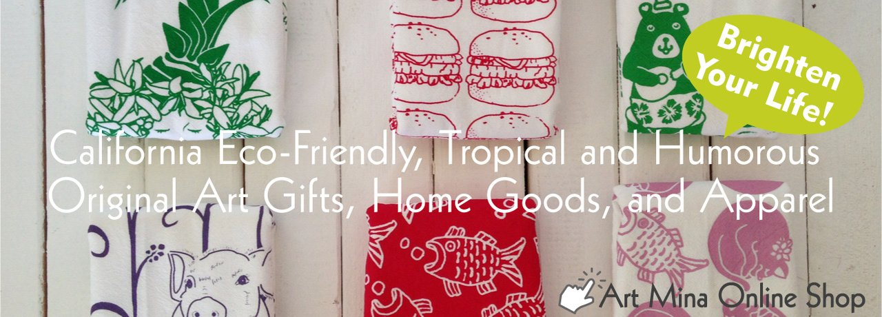Eco-Friendly, Hand Printed, Tropical, and Humorous Art Gifts, Home Goods, and Apparel.