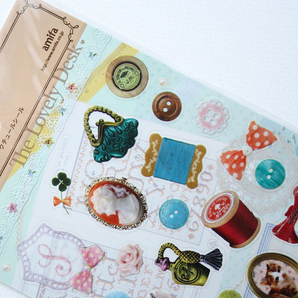 Couture Sewing Seal Sticker Sheet with Collage Card