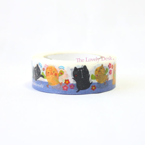 Pine Book Cat and Bird Poyo Animals Die-Cut Masking Tape