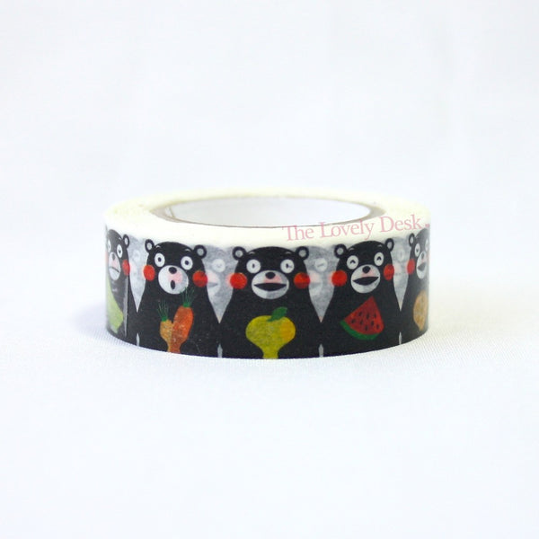 Pine Book Kumamon with Fruits & Vegetables Die-Cut Masking Tape