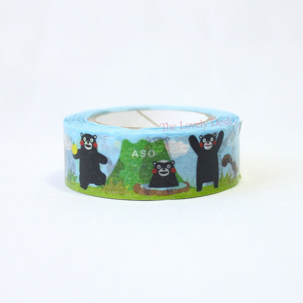 Pine Book Kumamon with Mt. Aso Die-Cut Masking Tape