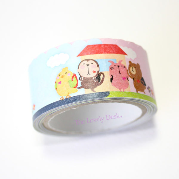 Poyo Animals Die-Cut Sticky Memo Tape (25mm)