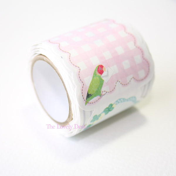 Budgie Birds Die-Cut Sticky Memo Tape (40mm)