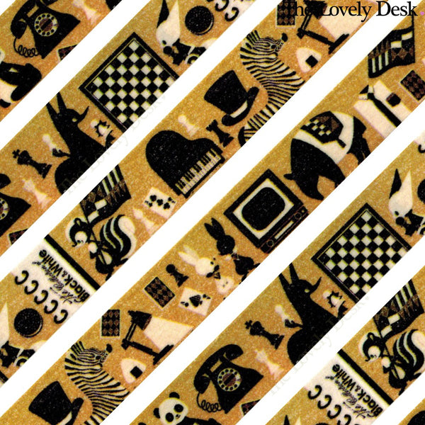 0313 Monochrome Collection Washi Tape (15mm, Animals & Objects Washi)