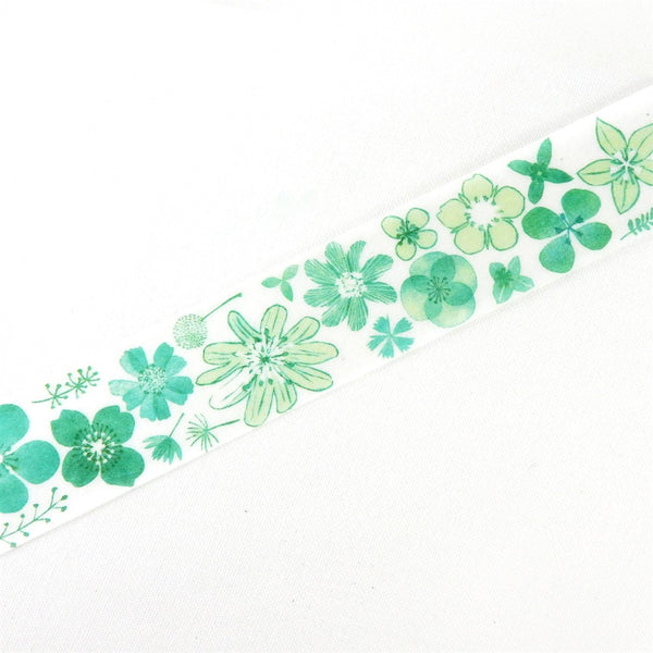 Chamil Garden Flower Green Washi Tape (25mm, Floral Washi)