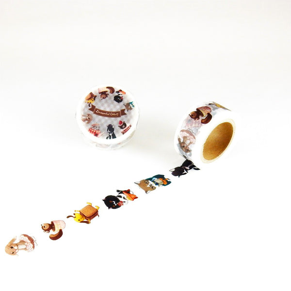 Little Path x Roundtop Cat Costume Party Washi Tape (20mm, Fun Animal Washi)