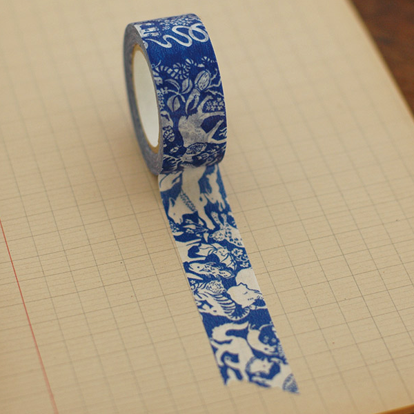 Classiky Friends Blue Washi Tape (20mm Animal Nature) [Mihani]