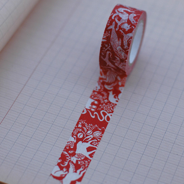 Classiky Friends Orange Red Washi Tape (20mm Animal Nature) [Mihani]