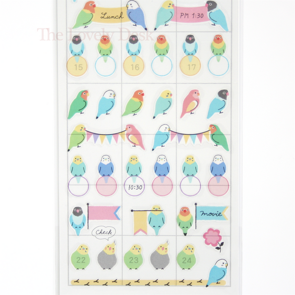 Mind Wave Budgie Bird Diary Sticker Sheet - Colourful Pet Clear Planner Stickers