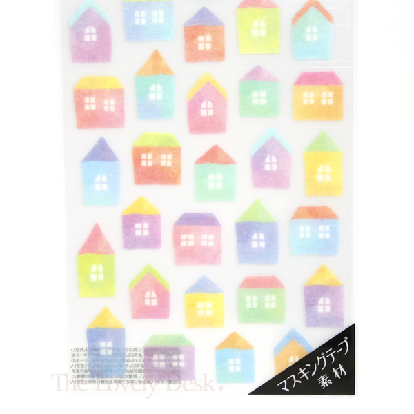 Mind Wave Watercolour House Washi Sticker Sheet - Town City Home Planner Stickers