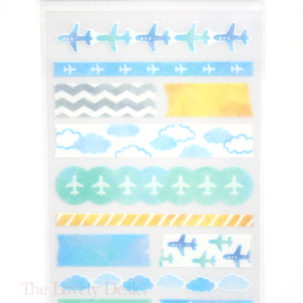 Mind Wave Watercolour Blue Travel Washi Sticker Sheet - Planner Stickers