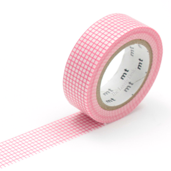 MT Hougan Peach Washi Tape (15mm Pink Grid Washi)