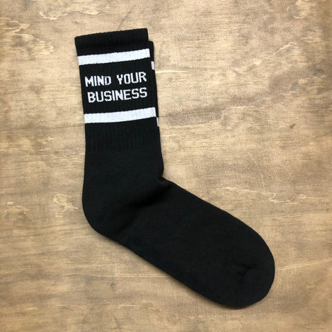 Mind Your Business Black w/ White Socks