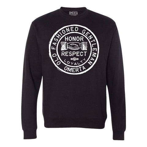 Old Fashioned Gentleman Black Crew Neck Sweatshirt