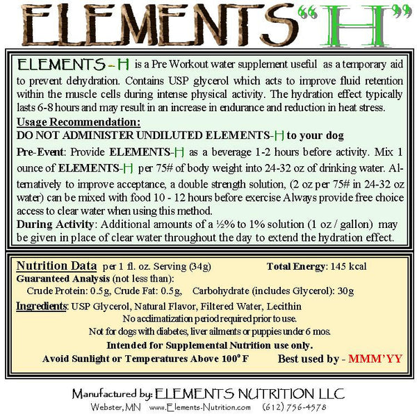 Elements H Hydration Back