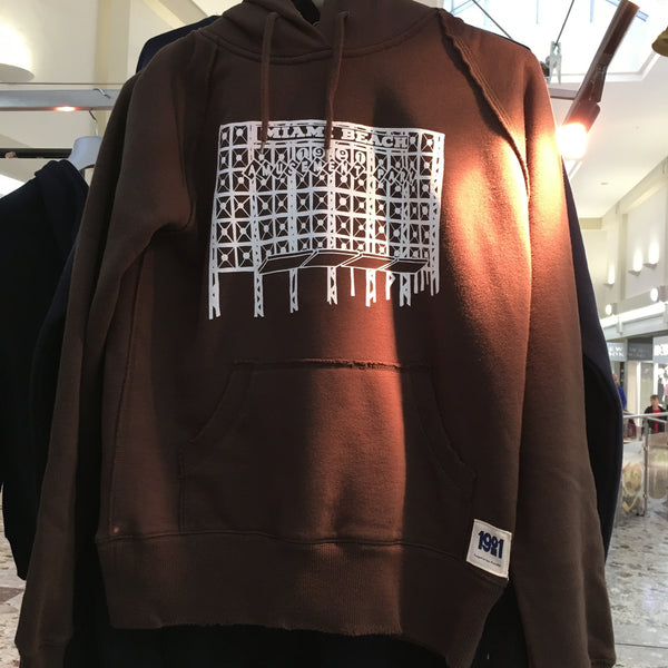 MIAMI BEACH LADIES BROWN DISTRESSED HOODY