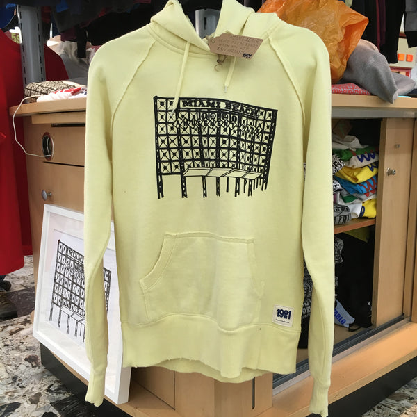 MIAMI BEACH LADIES YELLOW  DISTRESSED HOODY