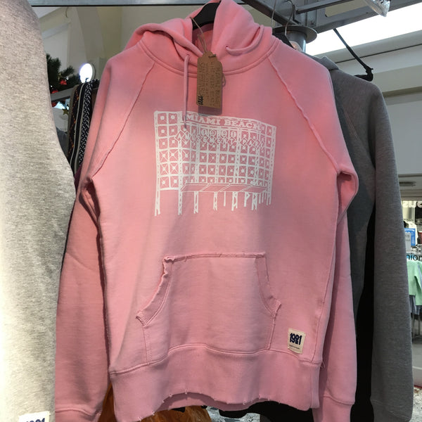 MIAMI BEACH LADIES PINK DISTRESSED HOODY