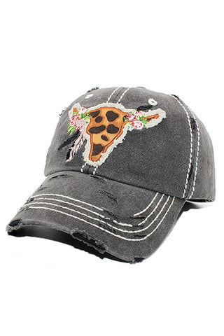 Animal Printed Steer Head Cotton Hat