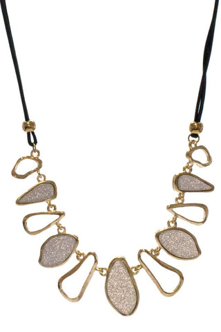 Black Silver Gold Leather Necklace