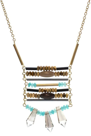 Gold Chain Charm Necklace With Wood and Aqua Stone Beads Pendant