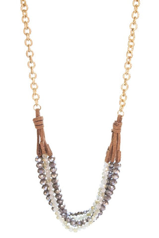 Crystal Beads With Leather and Metal Necklace