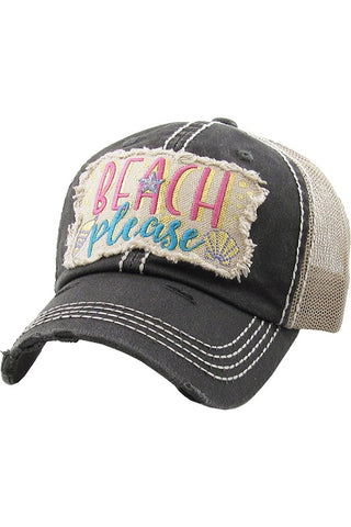 Beach Please Washed Vintage Ball Cap