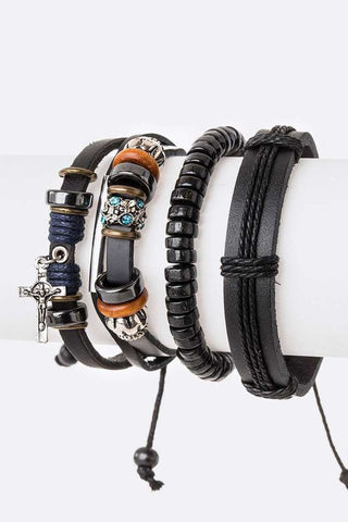 Cross Charm Genuine Leather Bracelet Set