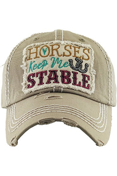 Horses Keep Me Stable Vintage Distressed Baseball Cap