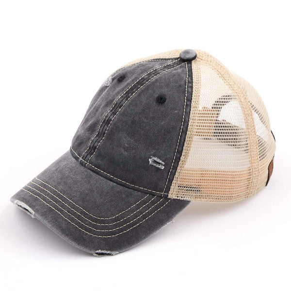 C.C Distressed Washed Mesh Baseball Cap