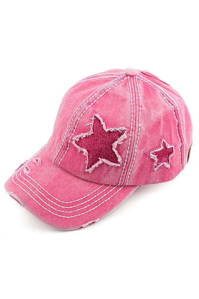 Distressed Pony Cap With Glitter Star Design