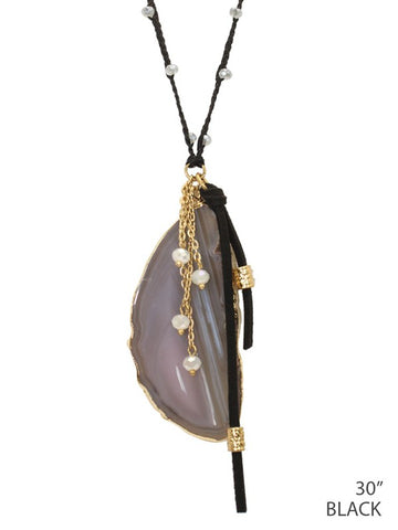 Crystal Beads With Leather and Natural Stone Necklace