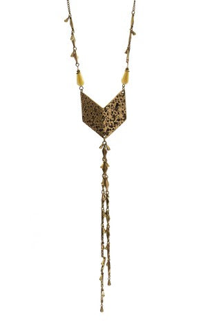 Hammered Worn Gold Arrow Necklace