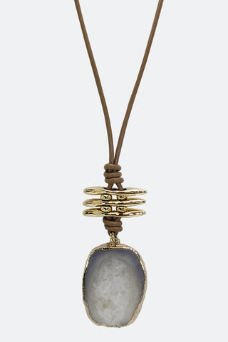 Natural Stone Charm With Wax Cord Necklace