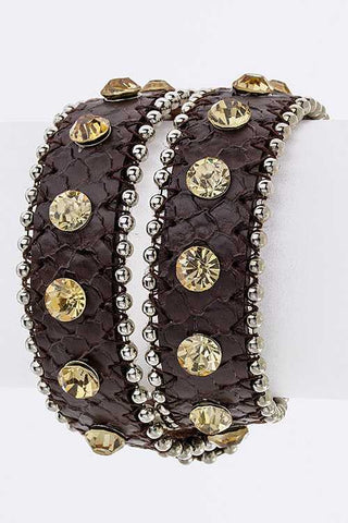 Double Wrap Ball Chain Crystal Leather Cuff
