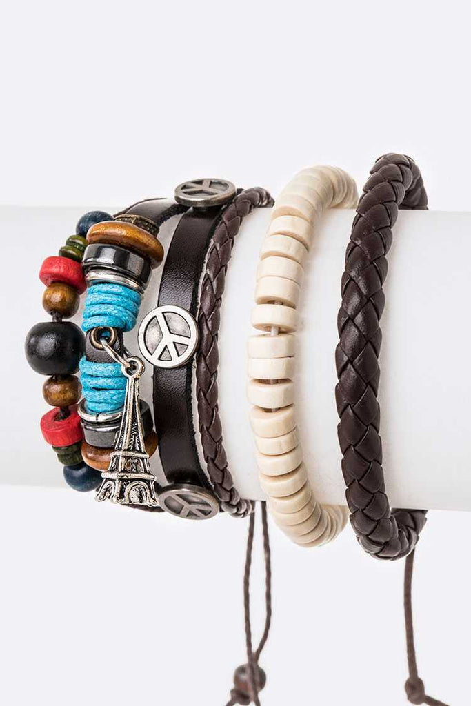 Peace Sign Mix Beads Leather Bracelet Set
