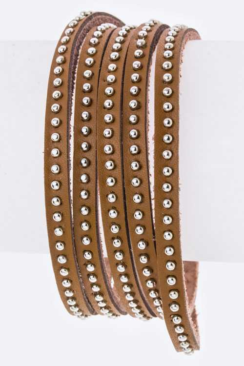 Micro Studs Wrapped Leather Bracelet