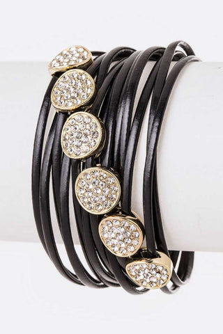 Crystal Slider Metallic Leather Bracelet