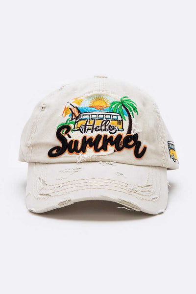 Hello Summer Embroidered Vintage Cap